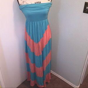 Strapless Chevron Print Knit Maxi Dress Size Large